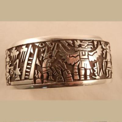 Hopi Sterling Silver Overlay Native American Cuff Bracelet