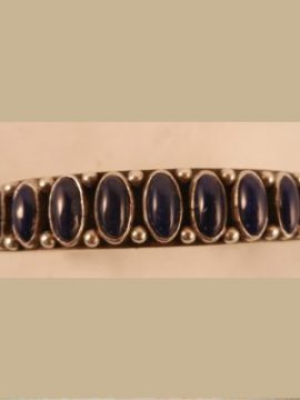 Navajo Heavy Gauge Sterling Silver and Lapis Row Cuff Bracelet