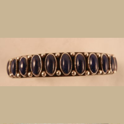 Navajo Heavy Gauge Silver and Lapis Native American Cuff Bracelet