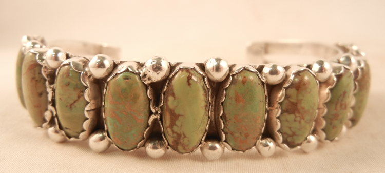 Navajo Green Turquoise and Silver Row Native American Cuff Bracelet