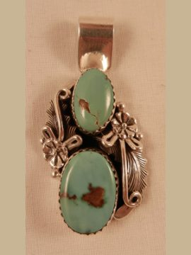 Navajo Peterson Johnson Double Turquoise and Sterling Silver Pendant