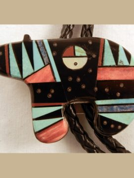 Zuni Vintage Multi-Stone and Sterling Silver Fetish Bear Bolo Tie