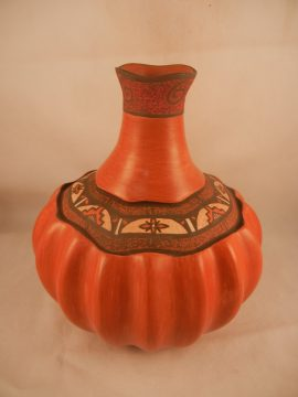 Jemez Stone Polished Melon Vase by B.J Fragua