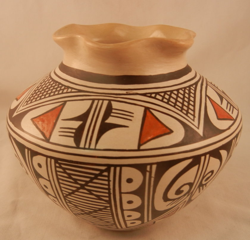 Hopi Small Traditional Vase with Fluted Rim by Feather Woman