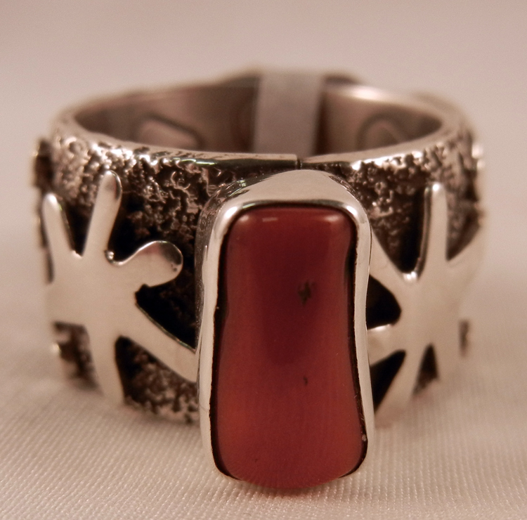Navajo Alex Sanchez Coral and Sterling Silver Petroglyph Style Ring