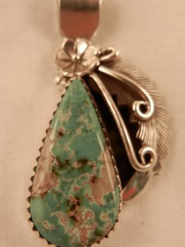 Navajo Peterson Johnson Small Turquoise and Sterling Silver Pendant