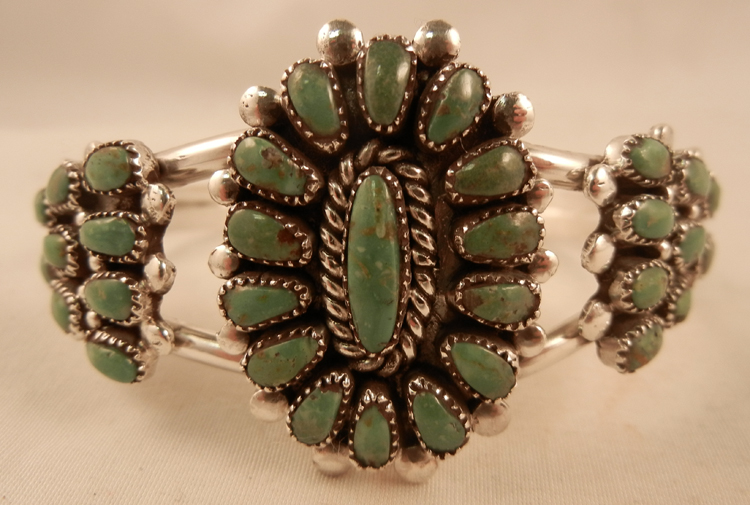 Zuni Green Turquoise and Sterling Silver Rosette and Cluster Cuff Bracelet