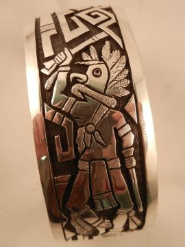 Hopi Joe Josytewa Sterling Silver Overlay Eagle Dancer Cuff Bracelet