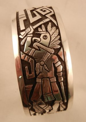 Hopi Joe Silver Overlay Eagle Dancer Native American Cuff Bracelet