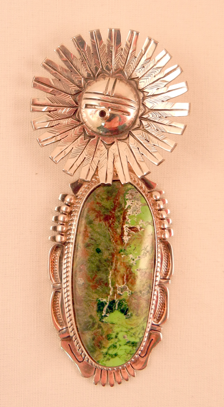 Navajo Bennie Ration Gaspeite and Sterling Silver Sunface Pendant