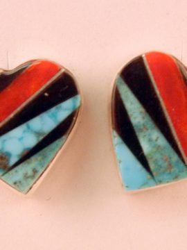 Zuni Small Multi-Stone Inlay and Sterling Silver Heart Earrings