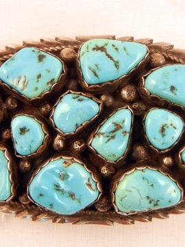 Navajo Small Vintage Natural Turquoise Nugget Cluster and Sterling Silver Belt Buckle