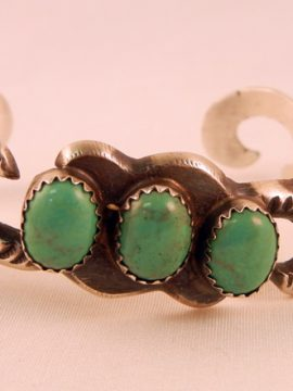 Navajo Kevin Billah Sandcast Sterling Silver and Turquoise Cuff Bracelet