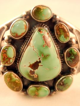 Navajo Thomas Francisco Royston Turquoise and Sterling Silver Cluster Cuff Bracelet