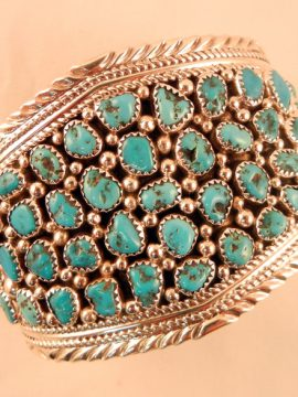 Navajo Turquoise Nugget and Sterling Silver Cluster Cuff Bracelet