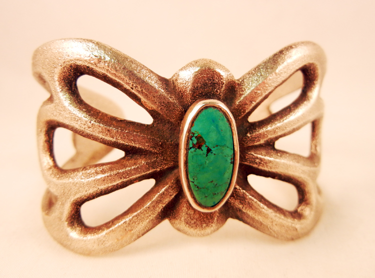 Navajo Silver Turquoise Dragonfly Native American Cuff Bracelet