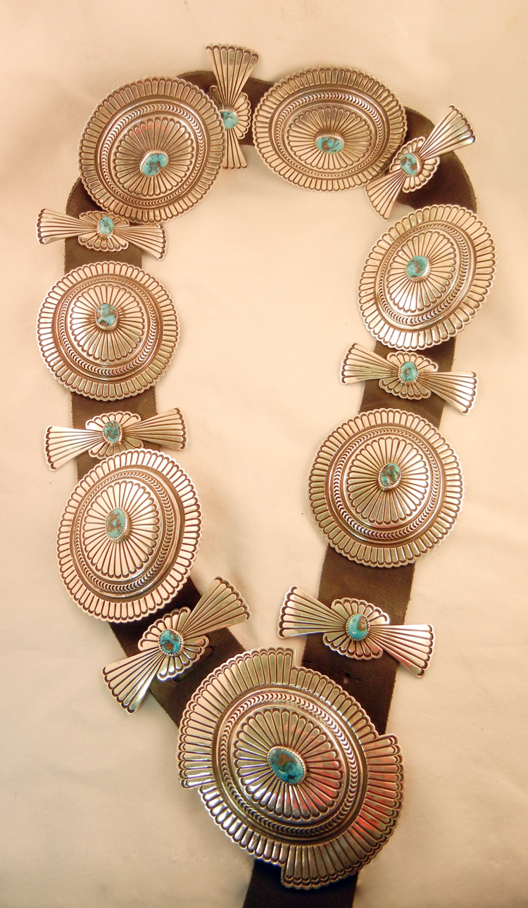 Navajo Bruce Morgan Turquoise and Sterling Silver Concho Belt