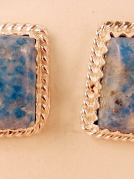 Navajo Denim Lapis and Sterling Silver Earrings