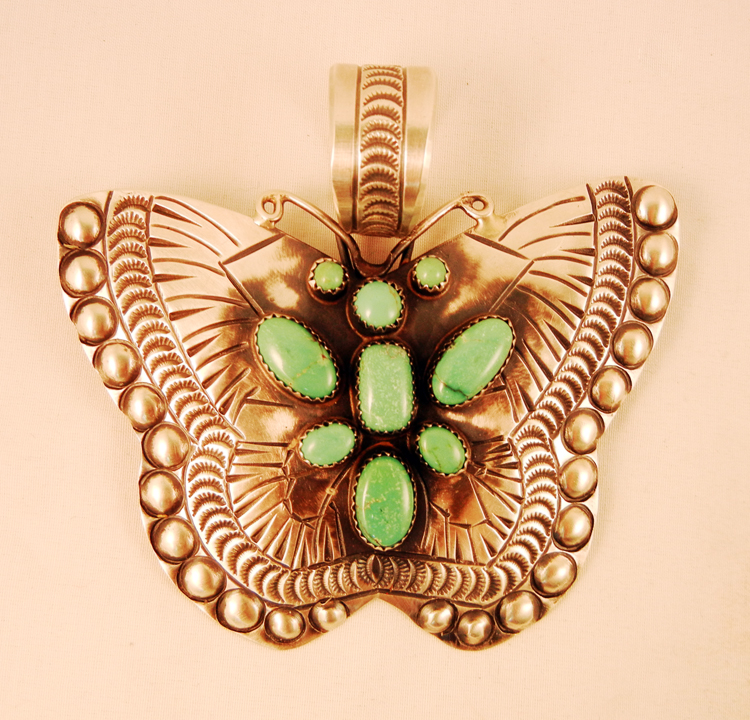 native-american-indian-jewelry-navajo-pendant-sandcast-sterling-silver-turquoise-butterfly (1)