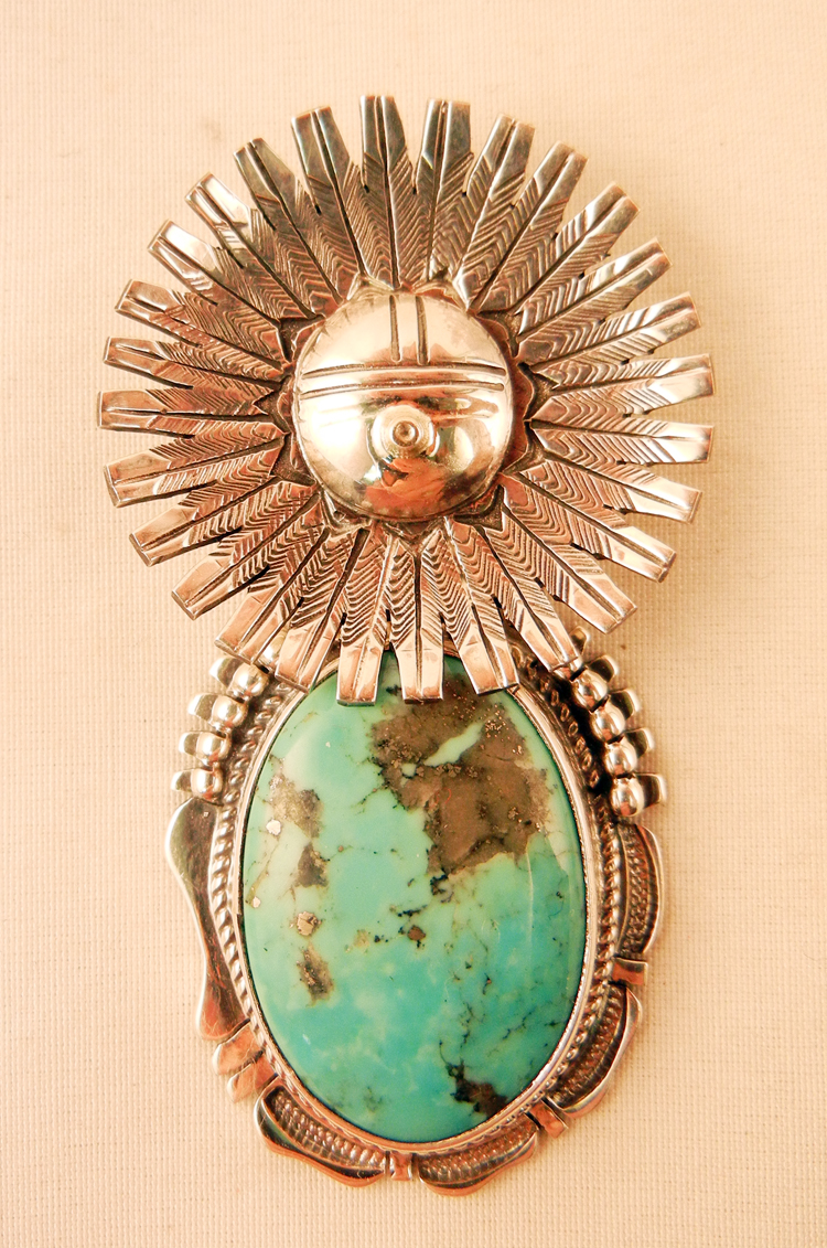 Navajo Bennie Ration Turquoise and Sterling Silver Sunface Pendant