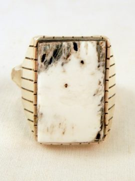 Navajo White Buffalo and Sterling Silver Ring