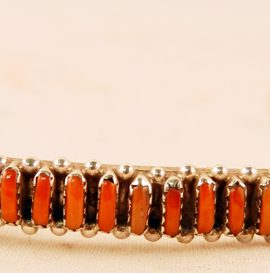 Zuni Coral Needlepoint and Sterling Silver Cuff Bracelet