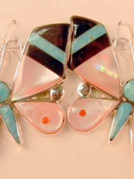 Zuni Angus Ahiyite Multi-Stone Inlay and Sterling Silver Butterfly Earrings