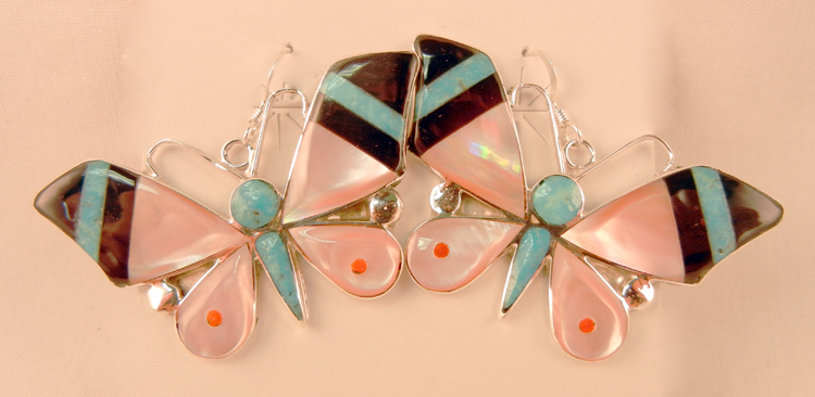 native-american-indian-jewelry-zuni-earrings-multi-stone-inlay-butterflies