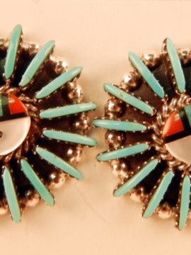 Zuni Edmund Cooeyate Multi-Stone Inlay and Turquoise Needlepoint Sunface Earrings
