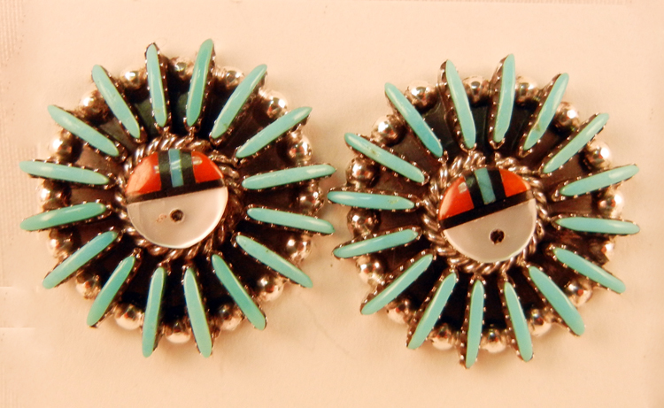 native-american-indian-jewelry-zuni-earrings-turquoise-coral-inlay-edmund-cooeyate-sunface