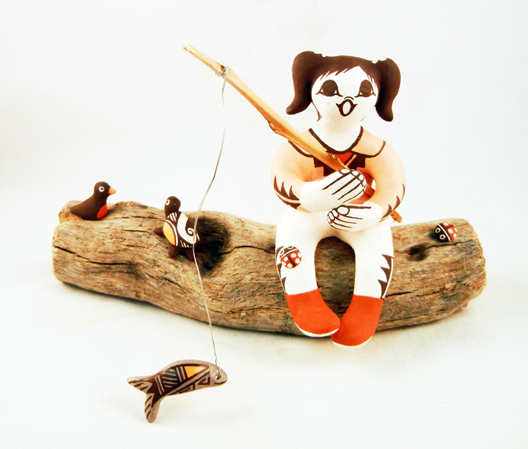 Acoma Marilyn Ray Pueblo Girl Fishing Figurine