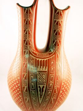 Jemez Wilma Baca Etched Traditional Wedding Vase