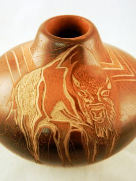 Santa Clara Dusty Naranjo Etched Buffalo Vase