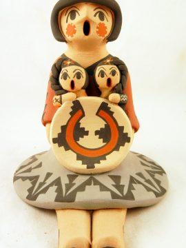 Jemez Chrislyn Fragua Seated Storyteller with Two Children
