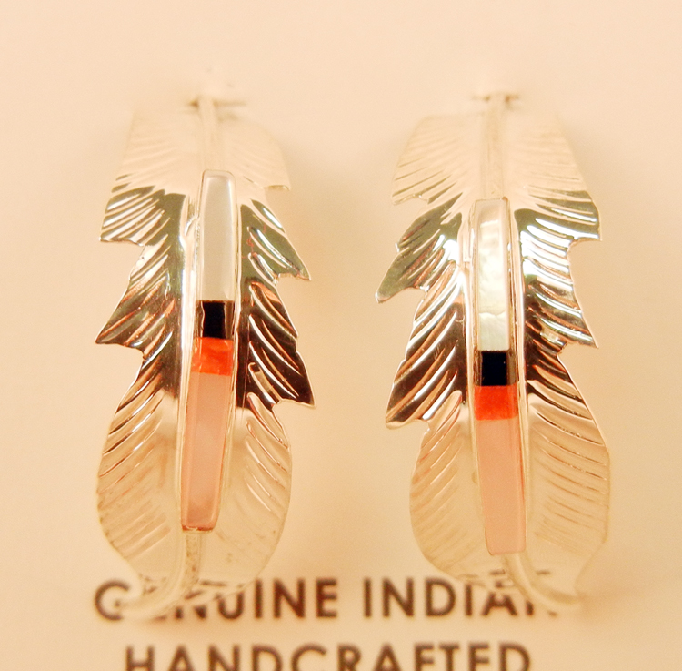 native-american-indian-jewelry-navajo-earrings-inlay-feather-hoops-fred-barney