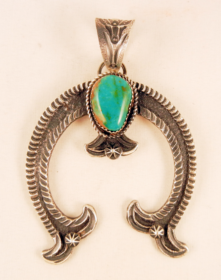 Navajo Linberg and Eva Billah Sandcast Sterling Silver and Turquoise Naja Pendant