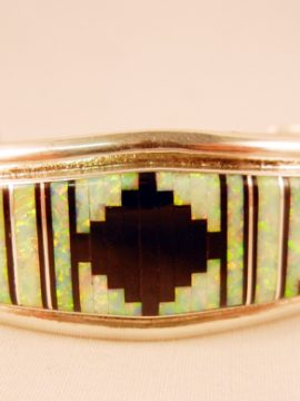 Zuni Jet, Lab Opal, and Sterling Silver Inlay Cuff Bracelet