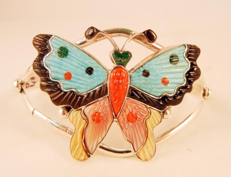 Zuni Tamara Pinto Mutli-Stone Inlay and Sterling Silver Butterfly Cuff Bracelet
