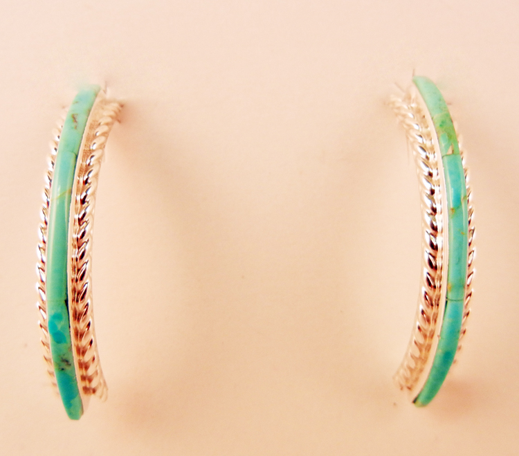 native-american-indian-jewelry-zuni-turquoise-earrings-inlay-sterling-silver-hoops (1)