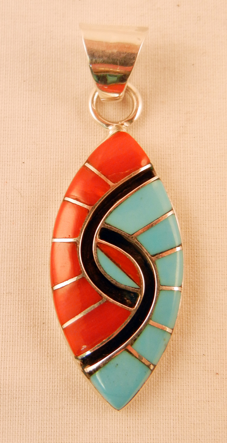 native-american-indian-jewelry-zuni-turquoise-pendant-coral-amy-quandelacy-hummingbird-pattern (1)