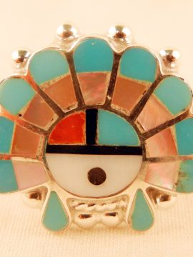 Zuni Multi-Stone Inlay and Sterling Silver Sunface Ring