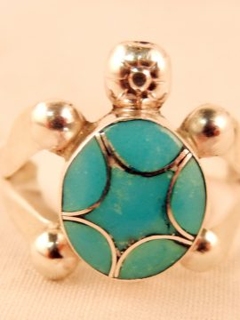 Zuni Turquoise and Sterling Silver Inlaid Turtle Ring