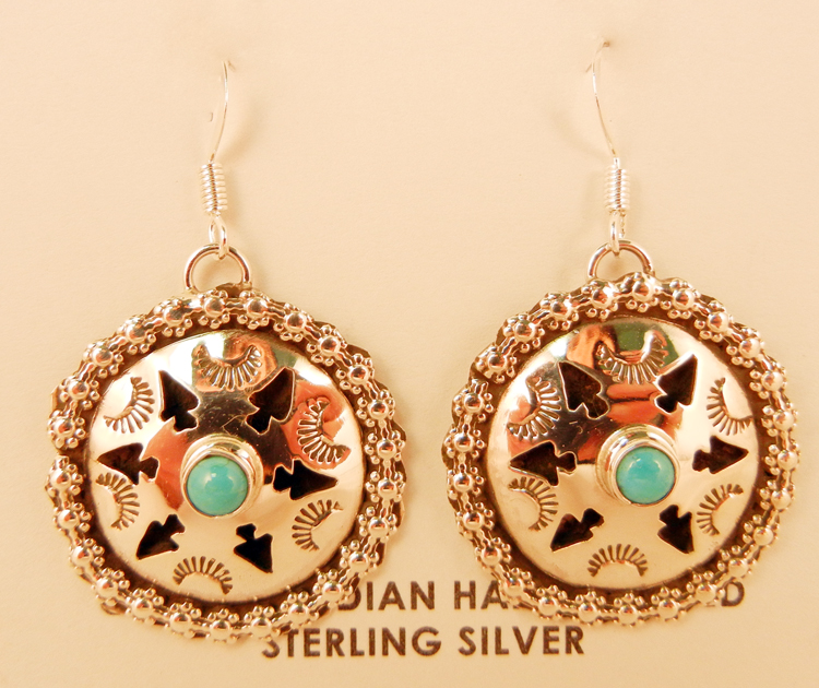 Navajo Sterling Silver and Turquoise Shadowbox Style Earrings