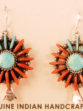 Zuni Edmund Cooeyate Turquoise and Coral Needlepoint Squash Blossom Earrings