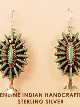 Zuni Edmund Cooeyate Turquoise Needlepoint and Sterling Silver Squash Blossom Earrings