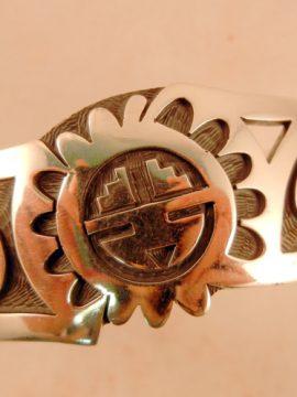 Hopi Sterling Silver Overlay Cuff Bracelet