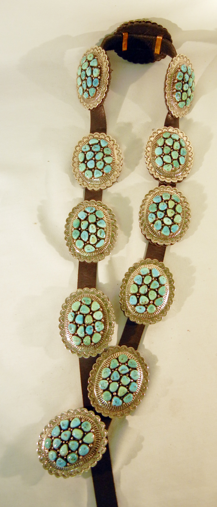 Navajo Turquoise Cluster and Sterling Silver Concho Belt