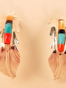Navajo Fred Barney Multi-Stone Inlay and Sterling Silver Feather Half Hoop Earrings