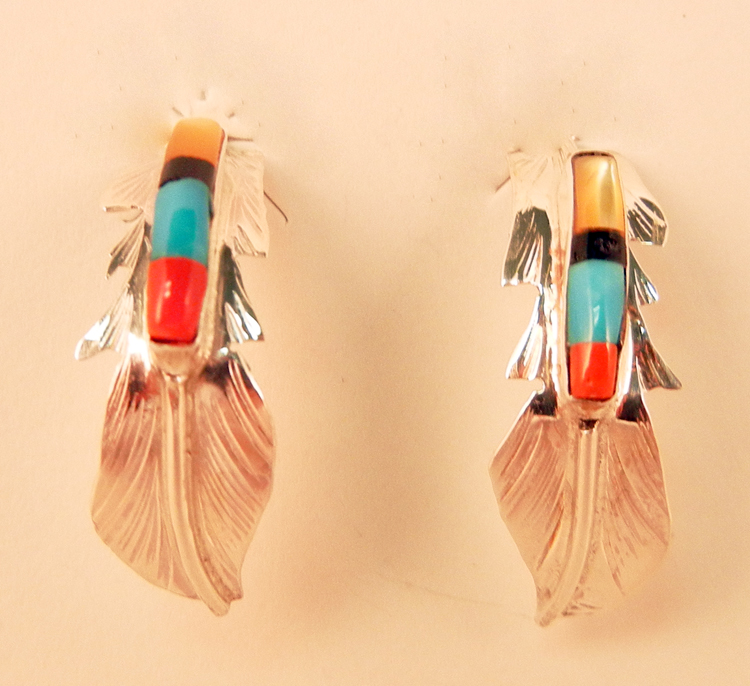 native-american-indian-jewelry-navajo-earrings-multi-stone-sterling-silver-feather-half-hoops-fred-barney