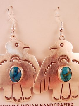 Navajo Cooper Willie Sterling Silver and Turquoise Thunderbird Earrings